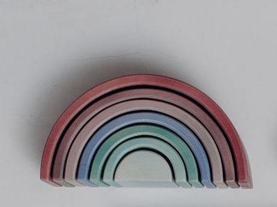 Arco Pequeno - Opção 04 Rosado maior e verde menor PINTURA TRANSLÚCIDA