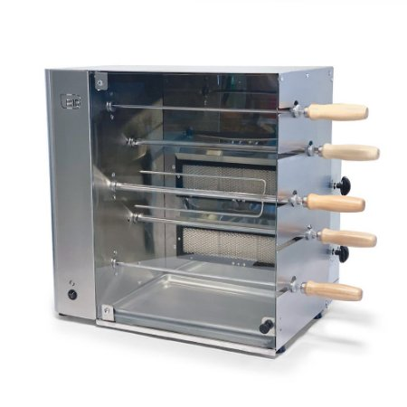 Churrasqueira Rotativa Vertical Gás Inox 5 Espetos UG Estilo
