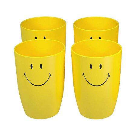 Conjunto 4 Copos Cozy Smiley Amarelo 400ml Brinox