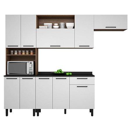 Cozinha Acácia 3 Peças MDP 10PT 1GV Itatiaia Castanho/Branco