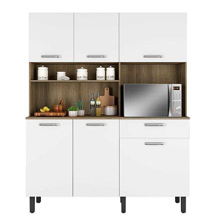 Kit Cozinha 140 Itatiaia 6 Portas 1 Gaveta Branco/Castanho