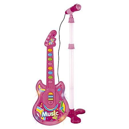 Guitarra e Microfone Infantil Musical Rosa BW138RS Importway