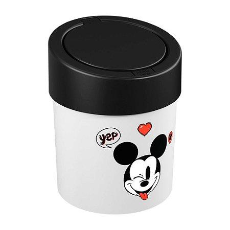 Lixeira Press 5 Litros Coza Disney Branco Preto Brinox