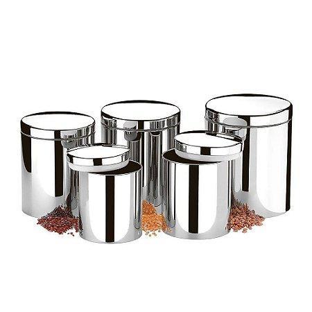 Conjunto Potes Mantimentos 5 Peças Suprema Inox Brinox