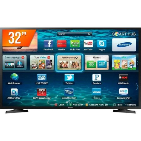 "Smart TV LED 32"" HD Samsung LH32 2 HDMI 1 USB Wi-Fi Bivolt"