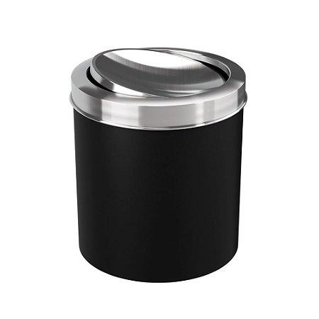 Lixeira Com Tampa Basculante Inox 5,4 Litros Preta Coza