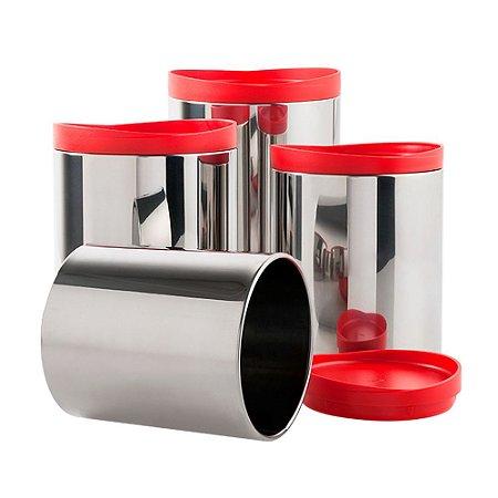 Conjunto Potes Mantimentos 4 Peças Suprema Vermelho Brinox