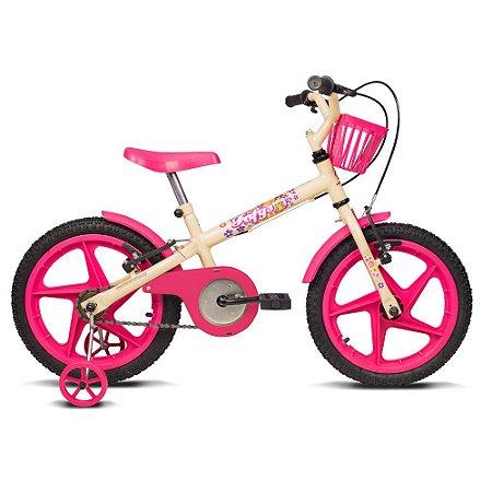 Bicicleta Infantil Aro 16 Fofys Bege e Fucsia Verden Bikes