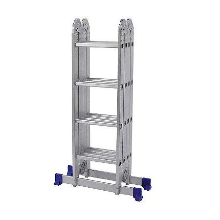 Escada Dobravel Multifuncional Aluminio 4x4 16 Degraus Mor