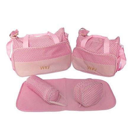 Kit Bolsa De Maternidade Com 5 Peças Rosa Importway
