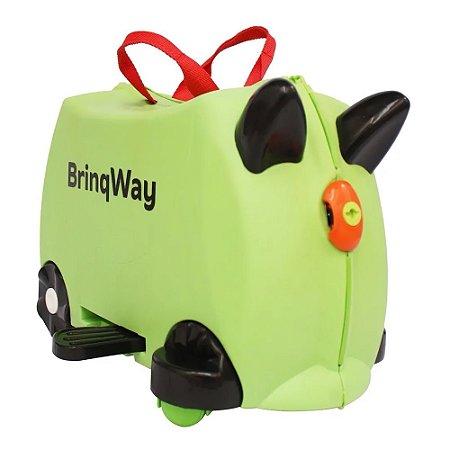Mala Infantil Carrinho Puxador Rodinha Verde Importway BW070