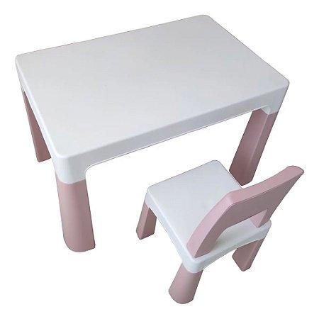 Conjunto de Mesa Infantil 1 Cadeira Rosa BW089 Importway