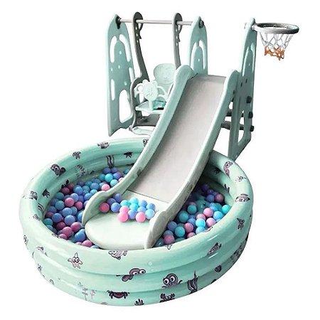 Playground Infantil 4x1 Piscina de Bolinhas Verde Importway