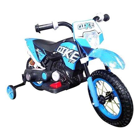 Mini Moto Cross Eletrica Infantil Azul BW083 Importway