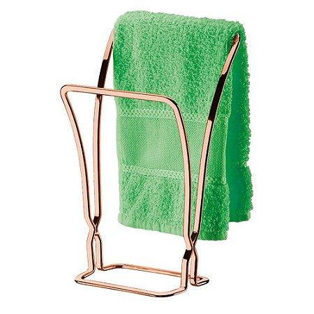 Porta 2 Toalhas de Bancada Aço Rosé Gold 1608RG Future