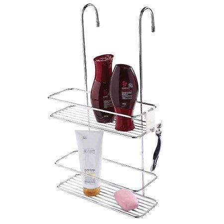 Suporte Duplo Para Shampoo Box Aço Cromado 1168 Future