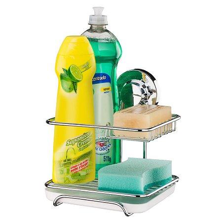 Suporte Sabão Detergente Esponja Aço Cromado 4017 Future