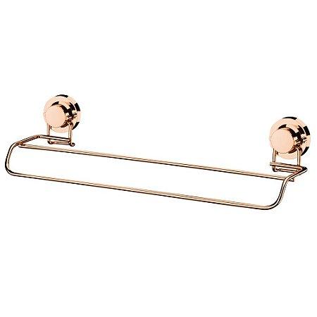 Toalheiro Duplo 45cm Ventosa Aço Rosé Gold 4056RG Future