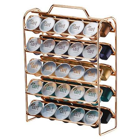 Organizador Cápsulas Nespresso Aço Rosé Gold 1147RG Future