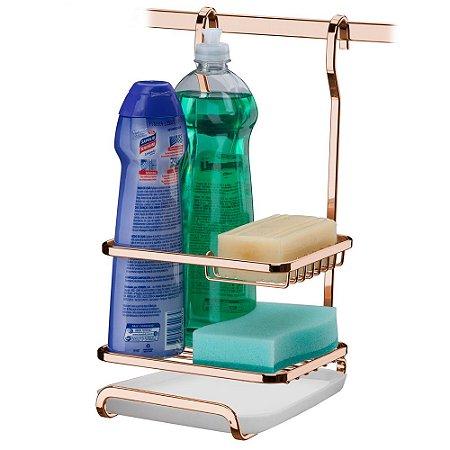 Suporte Sabão/Detergente/Esponja Aço Rosé Gold 2804RG Future