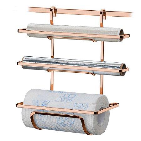 Suporte Rolos Papel Toalha/Alumínio/Pvc Aço Rosé Gold 2801RG Future