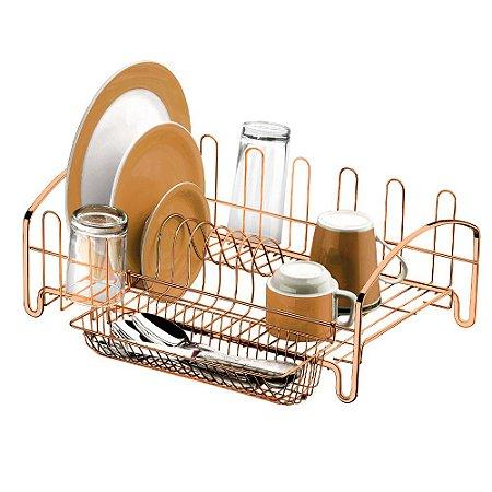 Escorredor de Louças Aço Rosé Gold 10 Pratos 1605RG Future