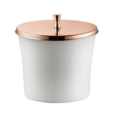 Lixeira Com Aro Para Banheiro 3 Litros Branco e Cobre Forma