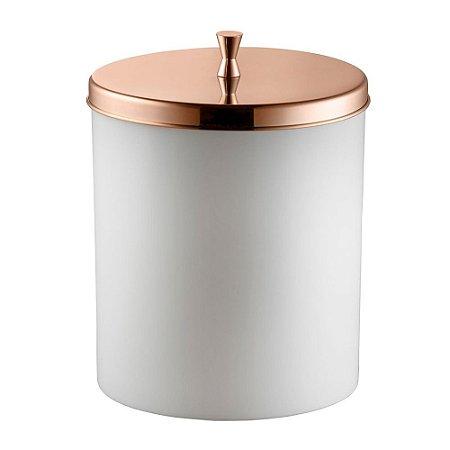 Lixeira Com Aro Para Banheiro 5 Litros Branco e Cobre Forma