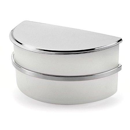 Saleiro de Bancada Com Tampa 1Kg Cromado Branco Dry Forma