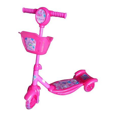 Patinete Infantil 3 Rodas Cesta e Luzes Rosa BW010 Importway