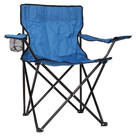 Cadeira Camping Dobrável Com Apoio IWCDC Azul Importway