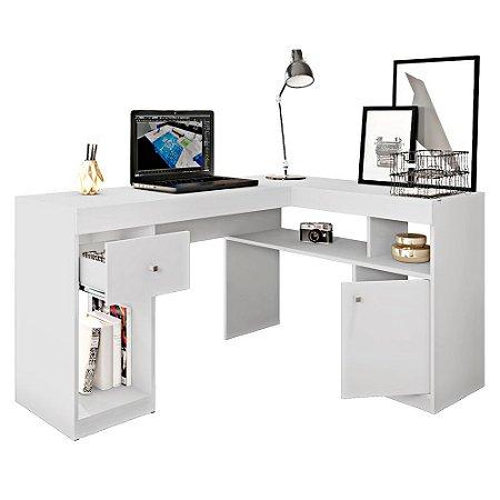 Mesa de Canto Office 1 Gaveta 1 Porta Nilo Branco Fosco Caemmun