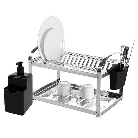 Escorredor Para 16 Pratos Aço Inox Dispenser Suprema Brinox