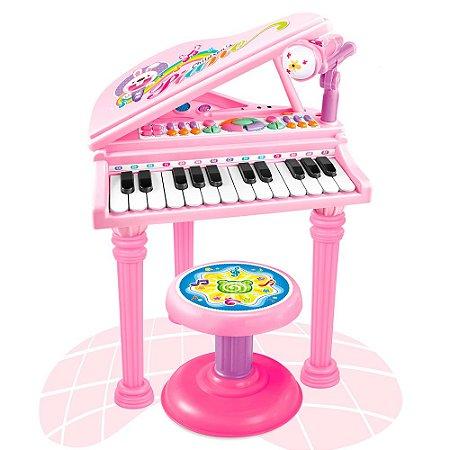Piano Infantil Com Banquinho Microfone Rosa BW099 Importway