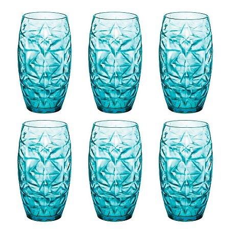 Jogo Com 6 Copos Altos Azul Oriente 470ml Bormioli Rocco
