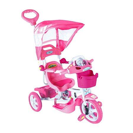 Triciclo E.T com Capota Rosa 2 Em 1 Passeio e Pedal Bel Brink
