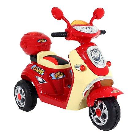 Moto Lambreta Elétrica 1 Lugar Infantil 6v Vermelha Bel Brink