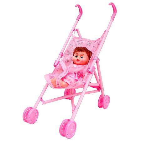 Carrinho e Boneca Infantil Rosa Guarda Chuva BW149 Importway