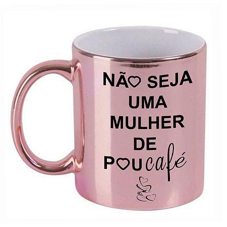 Caneca Cromada Personalizada Mulher de Pou-Café (Com Nome)