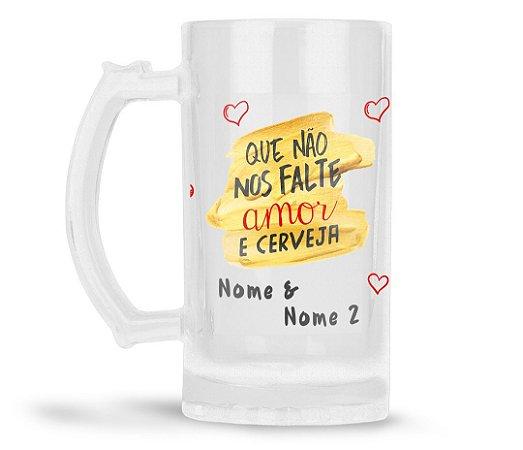 Caneca Chopp Personalizada Amor e Cerveja (Com Foto e Nome)