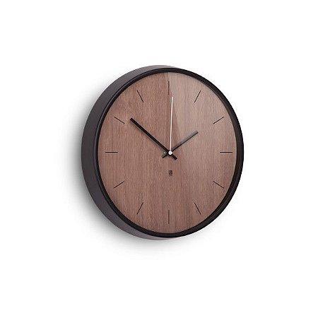 Relógio de Parede Madera Umbra - Preto/Noz