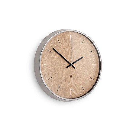 Relógio de Parede Madera Umbra - Níquel/Natural
