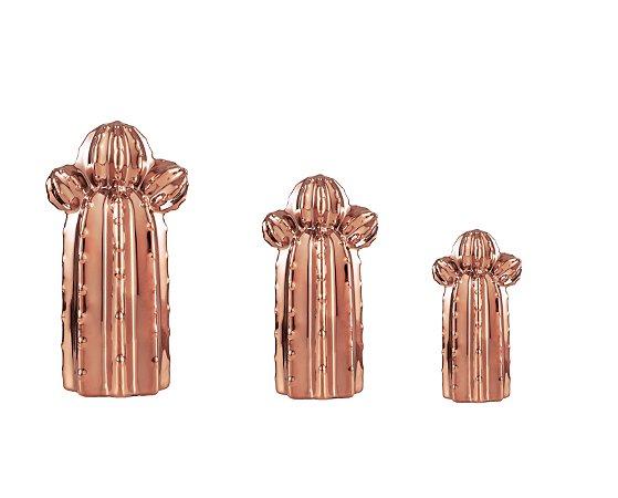 Cacto Decorativo em Cerâmica - Cobre - Kit com 3
