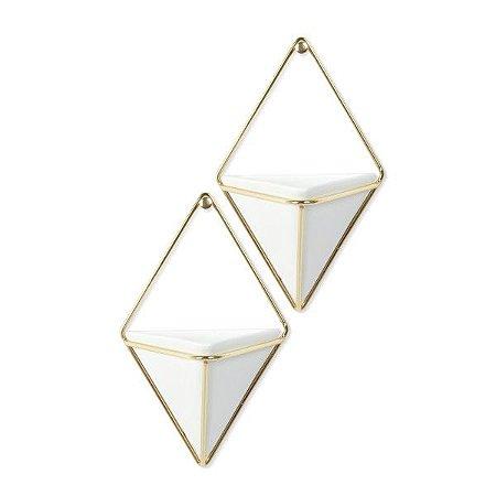 Vaso de Parede Multiuso Trigg Umbra Branco - Kit com 2