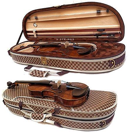 Estojo Violino 4/4 Extraluxe Meia-lua Xadrez