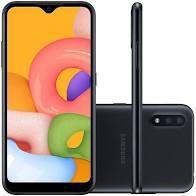 Galaxy A01 Smartphone Samsung Android Tela 5.7 32GB Câmera 13MP+2MP Octa-Core 2.0GHz Preto