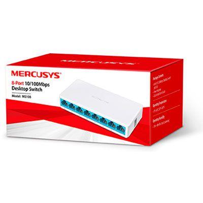 08Portas - MS108 Switch Mercusys 8 portas 10/100 L2 Não gerenciável