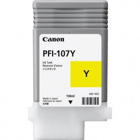 Original PFI-107Y Cartucho de Tinta Canon Amarelo 130ml