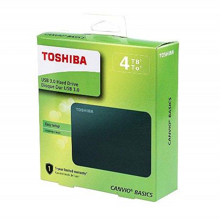 4TB Canvio Basics Hard Disk Externo 2.5Pol Toshiba 4TB Preto HDTB440XK3CA