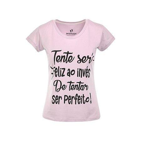 Camiseta Feminina Tente Ser Feliz Lilás